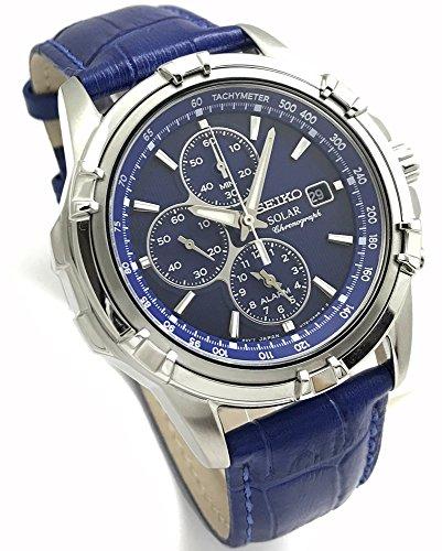 SEIKO セイコー ソーラー クロノグラフ 光発電 ブルー本革セット オリジナルベルト付属 メンズソーラー腕時計 SSC141PC/BL [並行輸入品]