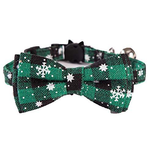 Artline Collares para perros y gatos ajustables para cachorros collares de Navidad, copo de nieve, pajarita desmontable de seguridad para gatos y mascotas