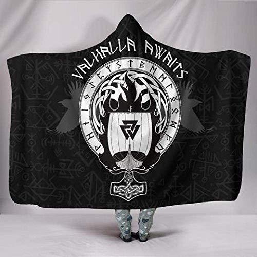 Manta con capucha, diseño de martillo vikingo de Thors, manta para el sofá, manta de peluche, manta estampada, manta de microfibra, para adultos y niños 150*200cm blanco