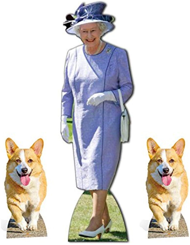 Fan Pack Queen Elizabeth II purplec Dress with 2 Royal Corgis Cardboard Cutout Standup Set Plus 20x25cm Photo