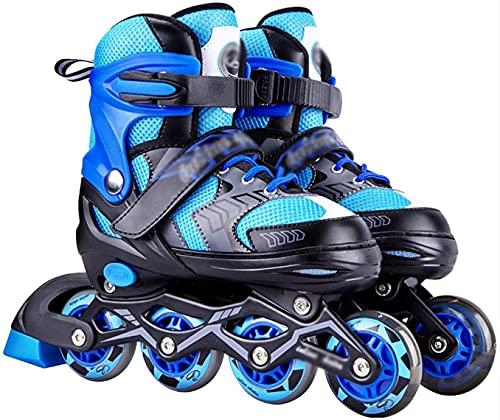 TOPNIU Patines Roller Disco Roller Patines Rodillos Patines Rollos para niños Patines de Rodillos para niños 5 Colores Diferentes Patines Skate Skates Ajustables (Color : Blue, Size : Medium 33-37)