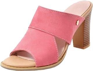 VulusValas Women Block Heel Mules Sandals