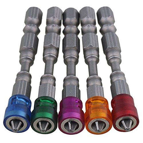 BQLZR 0,64 cm S2 Chromstahl Trockenbau Magnetischer Schraubendreher Bit PH2 L65 x D9 mm Gipskartonschrauben-Bits Sechskantschaft mit Tiefenanschlag 1 - 5 Stück