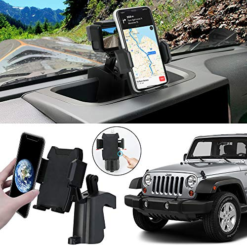 SUNPIE Dash Phone Holder with Multi-Mount for Jeep Wrangler JK & Unlimited JKU 2011-2018 Interior Accessories (Screw Included)