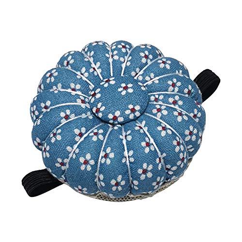 kowaku Cojín de Alfileres de Primera Calidad, Alfileres de Muñeca, Cojines con Forma de Calabaza con Estampado de Flores, Alfileres de Agujas, Portaagujas Po - Azul