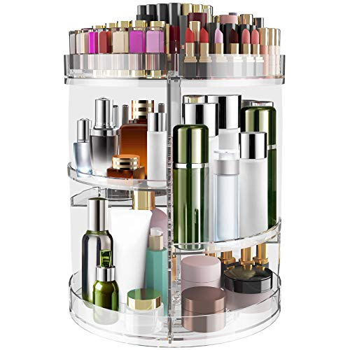 YITAHOME 2x Size Extra Large 360 Rotating Makeup Organizer, Adjustable Acrylic Makeup Drawer Cosmetic Storage Boxes Display Case with 7 Layers for Dresser or Vanity Countertop fits Makeup Brushes, Lipsticks, Clear