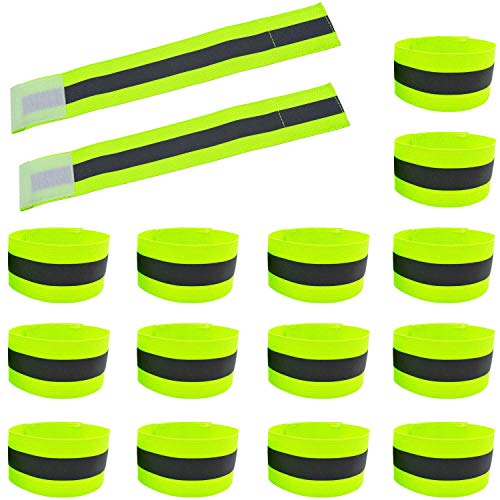 16PCS High Visibility Reflective Night Running Walking Elastic Strap Wristbands Ankle Bands Armbands Safety for Cycling Walking Running Camping Outdoor Sports-Fits Women Men Kids (8 Pairs / 16 Bands)