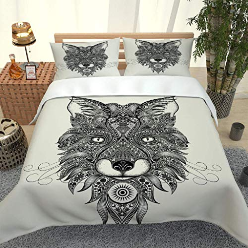 MQBHJI Super King Size Duvet Cover Sets - 3D Printed Black And White Creative Wolf Head Pattern 3 Pcs With Zipper Closure + 2 Pillowcases - Ultra Soft Hypoallergenic Microfiber Quilt Cover Sets 260X22