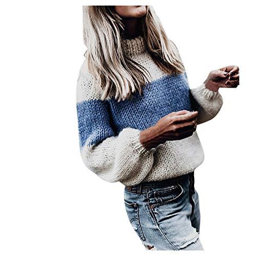 PPangUDing Rollkragenpullover Sweatshirt Sweater Damen Classic Langarm Patchwork Feinstrick Basic Dick Slim Fit Jumper Bluse Knitted Strickpullover Strickpulli Für Herbst Winter Und Frühling