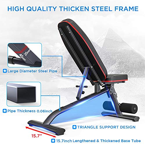 Yoleo Adjustable Commercial Weight Bench Foldable 550lbs Capacity Multiuse Full Body Workout Bench Weight Lifting Sit Up Ab Bench Flat Incline Decline Bench Press for Home Exercise Gym Product Name
