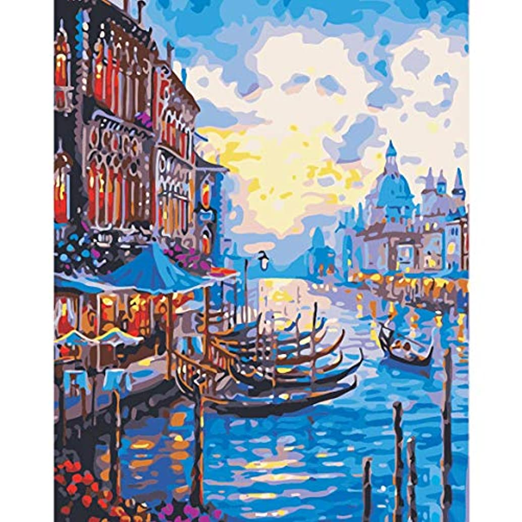 OyeArts Frameless Paint by Number Kits for Kids & Adults & Beginner & Teens DIY Oil Painting with Numbers-Shore Boat 16x20 Inch