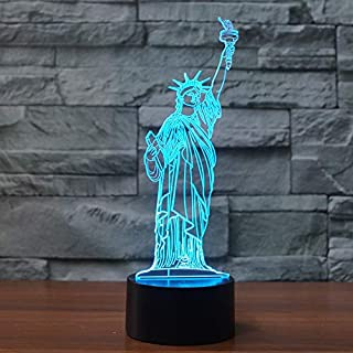 3D Statue of Liberty Night Light Table Lamp Decor Table Desk Optical Illusion Lamps 7 Color Changing Lights LED Table Lamp Xmas Home Love Brithday Children Kids Decor Toy Gift