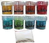 Ranger Embossing Powders in 8 Garden Colors with Bye Bye Static Pad-Bundle of 9 Items