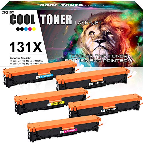 Cool Toner Compatible Toner Cartridge Replacement for HP 131X CF210X 131A CF210A Laserjet Pro 200 Color MFP M276nw M276n M251nw Pro 200 M251n M251 M276 CF211A CF212A CF213A Toner Printer Ink 5-Pack