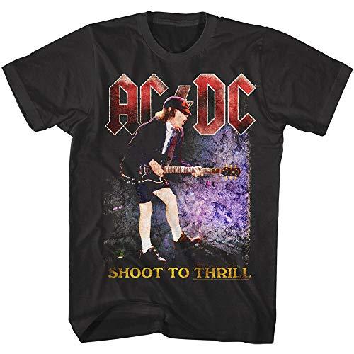 ACDC Shoot To Thrill Men's T Shirt Guitar Shredding Rock Band Album Tour Merch