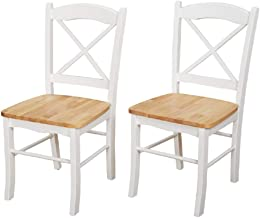Target Marketing Systems Inc. Simple Living Country Cottage Rustic Cross Back Rubber Wood Kitchen Durable Dining Room Chairs (Set of 2) (White/Natural)