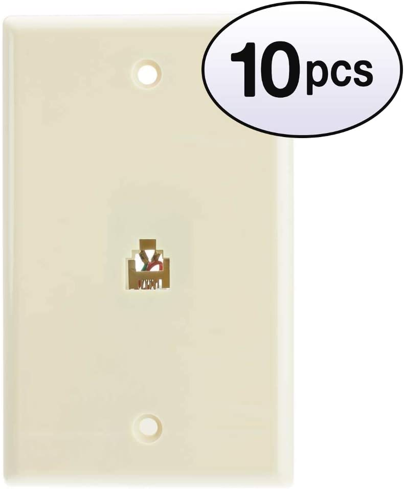 GOWOS 10 Max 87% OFF Pack 2 Line Telephone Beige Fixed price for sale RJ11 Wall Ivory Plate