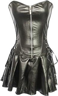 Women's Faux Leather Corset Skirt, Black Sexy Overbust Bustier Waist Cincher Shaper, Cosplay Clubbing Body Shaper Dress (S...