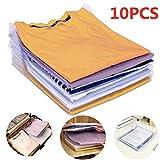 Nšilko Organizador de Armario,Camiseta Carpeta Sistema Antiarruga,tamaño Normal (10PCS)