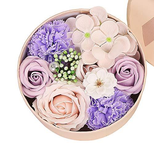 Gobesty Rosen Geschenkbox, Rosen Box Herz, Seife Rose Blume, Ewige Rose Geschenk mit Geschenkkarte für Valentinstag, Hochzeitsdekoration, Haus Dekoration, Kreative Geburtstagsgeschenke (Lila)