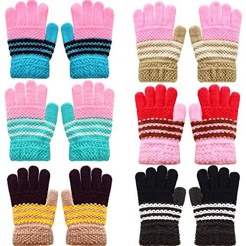 SATINIOR 6 Paar Kinder Warme Handschuhe Winter Magische Stretch Handschuhe Strickhandschuhe für Jungen Mädchen