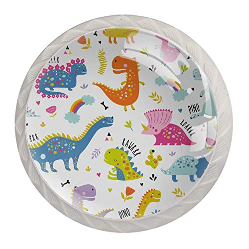 Möbelgriff Cartoon Dinosaurier Muster Knopf Kristall Schubladengriff Kreativer Möbelknopf Dekorative Schubladenknopf für die Küche zu Hause 4 Stück 3.5×2.8CM