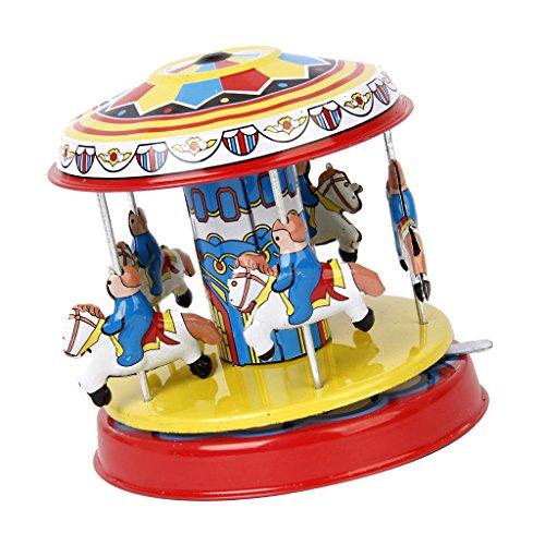 chiwanji Giocattoli Vintage in Latta Spinning Carosello Fairground Merry Go Round Classicx1