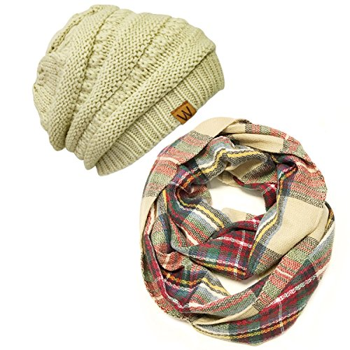 Wrapables Women's Infinity Scarf and Beanie Hat Set