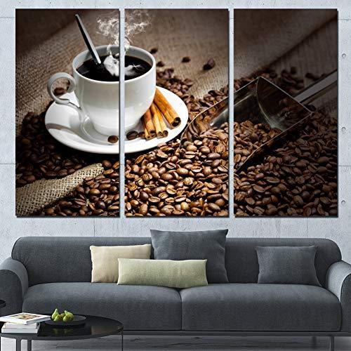 RHBNVR HD-druk canvas schilderij modulaire HD gedrukt canvas poster woonkamer 3 stuks koffiebonen hete drank mok kunst wooncultuur wandafbeeldingen