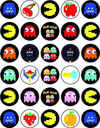 30 x Atlanta Mall Edible Cupcake Toppers - Themed PacMan Collection Deluxe Retro of