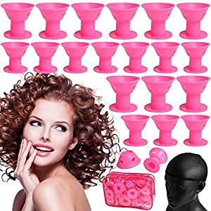 Beauty Shopping 40 Pcs Pink Magic Hair Rollers,Include 20pcs Large Silicone Curlers