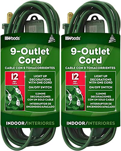 Woods 32189 Indoor Extension Cord With Nine Power Outlets (12 Feet, Green) Pack of 2
