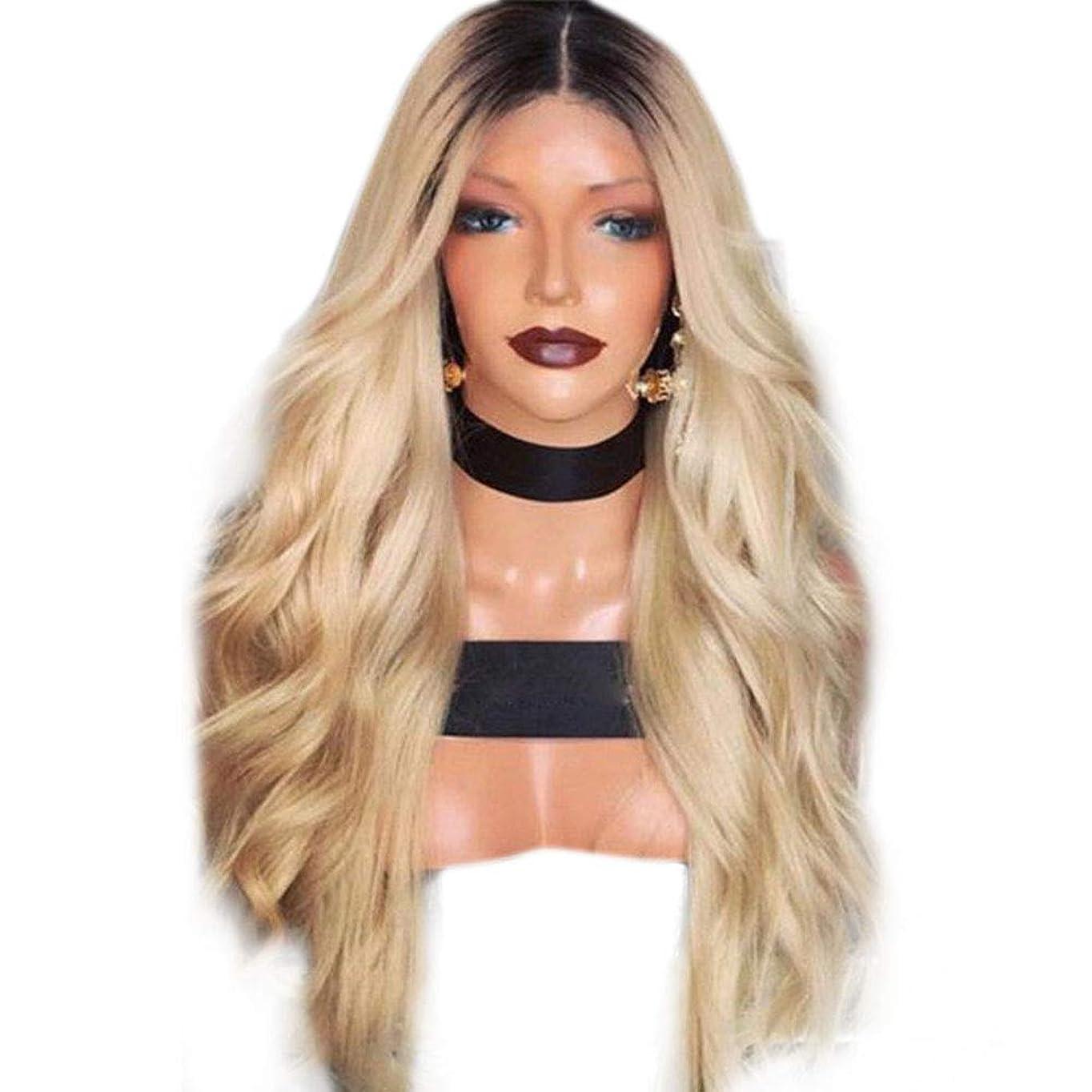繁殖感じ遺伝子YESONEEP かつら長い巻き毛黒グラデーションイエローマイクロロール長い髪かつらヘッドギア合成髪レースかつらロールプレイングかつら (色 : Photo Color, サイズ : 65cm)