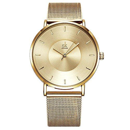 SK Watches Women Stainless Steel Band Ladies Quartz Wristwatches Women Clock Bracelet Watch (0059 Gold)