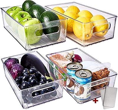 Fullstar Fridge Organizer Bins 4 Pack - Refrigerator Organizer Bins Freezer Organizer Stackable Refrigerator Storage Bins Fridge Storage Containers Clear Pantry Organization And Storage Bins