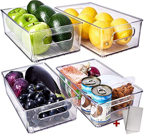 Fullstar Fridge / Freezer Organizer Bins 4 Pack