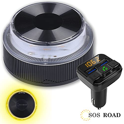 NK SOS Road - Luz de Emergencia Coche + Transmisor FM BSL, Luz de Emergencia Autónoma, Luz LED, Señal V16 de Preseñalización de Peligro Homologada - Pilas Incluidas (Autorizada por la DGT)