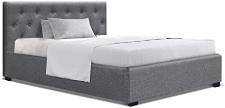 King Single Bed Frame, Artiss Fabric Upholstered Bed Frame with Gas Lift Storage, Grey
