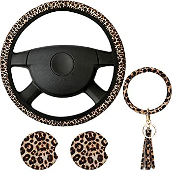 4 Pieces Leopard Print Car Accessories Set Leopard Steering Wheel Cover Leopard Car Coasters and Leopard Keyring Bracelet for Car Truck SUV