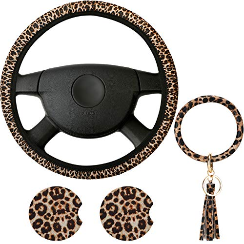 4 Pieces Leopard Print Car Accessories Set, Leopard Steering Wheel Cover, Leopard Car Coasters and Leopard Keyring Bracelet for Car, Truck, SUV