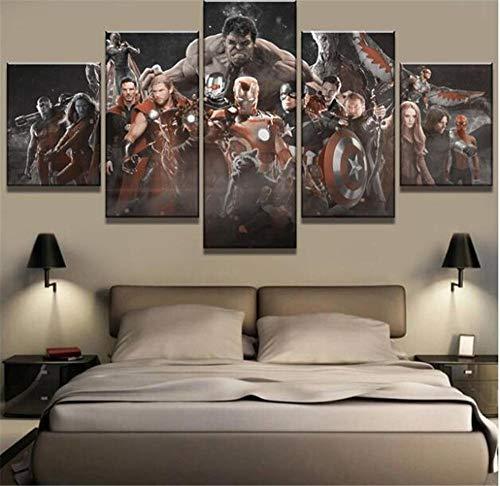 WLHZNB Impresiones sobre Lienzo 5 Piezas De Lona Avengers Infinity War Cuadros Decoración Lienzo Arte De La Pared Decoración del Hogar (Tamaño 3) Sin Marco
