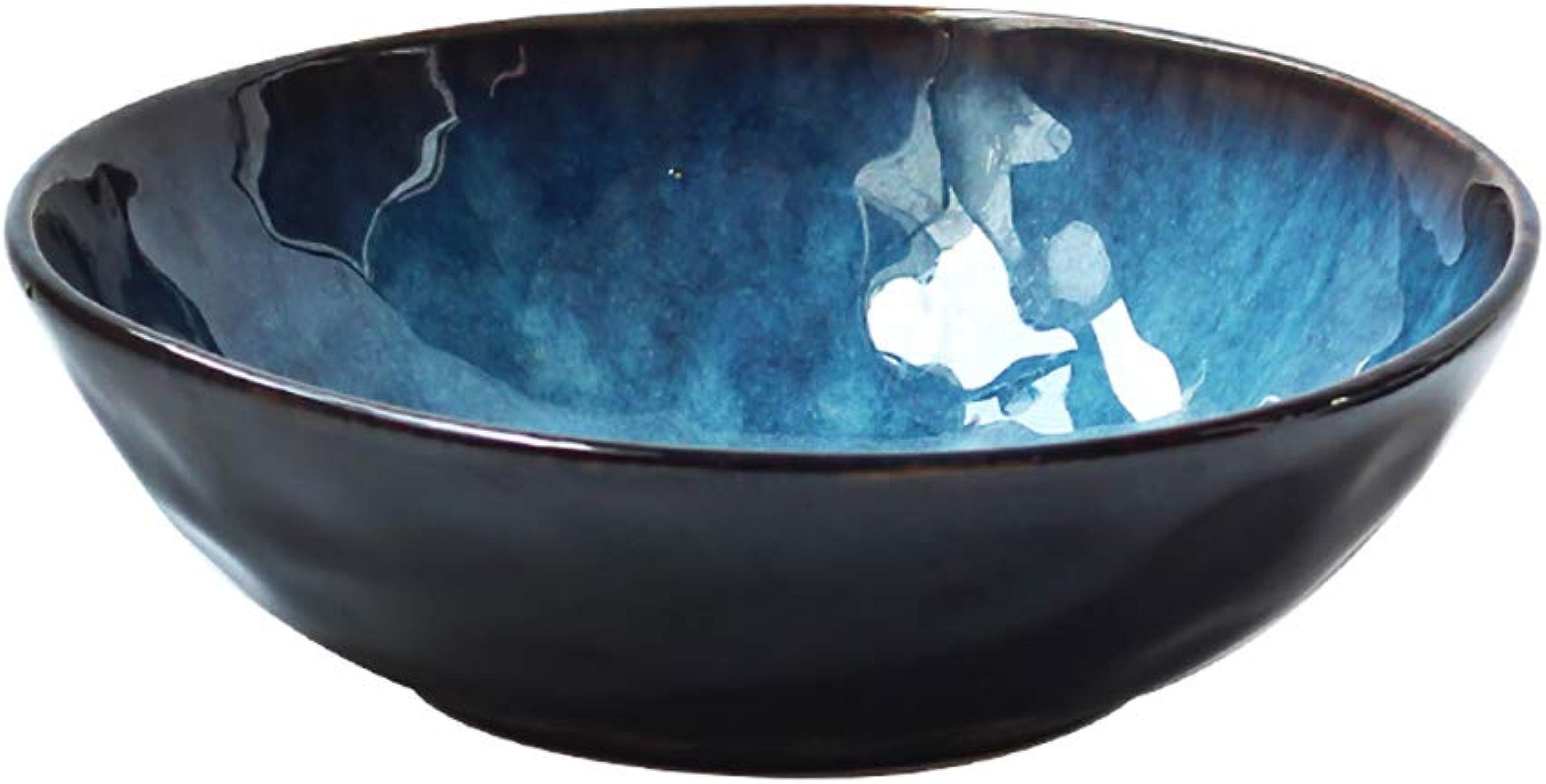 WSY Bol, Bol à Soupe en céramique, Bol à Salade Maison pour légumes et Fruits, Bol 9 Pouces Bleu (Couleur   3PCS)