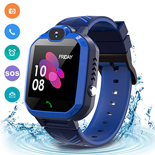 Kids Waterproof Smart Watch Phone, GPS/LBS Tracker Smart Watch for Kids for 3-12 Year Old Compatible iOS Android Games SOS Alarm Clock Camera Smart Watch Christmas Birthday Gifts for Kids(Black Blue)