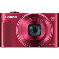 "Canon PowerShot SX620 HS - Cámara digital compacta de 20,2 Mp (pantalla de 3"", zoom óptico 25x, WiFi, NFC, video Full HD), rojo"