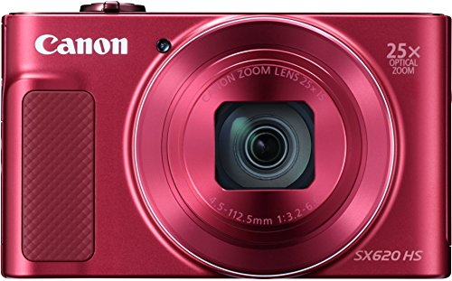 Canon PowerShot SX620 HS Digitalkamera (20,2 MP, 25-fach optischer Zoom, 50-fach ZoomPlus, 7,5cm (3 Zoll) Display, CMOS-Sensor; DIGIC4+, optischer Bildstabilisator, WLAN, NFC, HDMI) Kamera rot