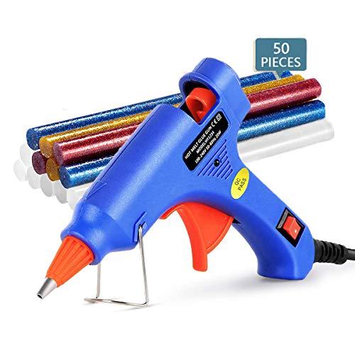 MINGJING Pistola per Colla a Caldo 75 Stick di Colla per Fai da Te Progetti e Riparazioni, Uso Domestico 20W, Blu