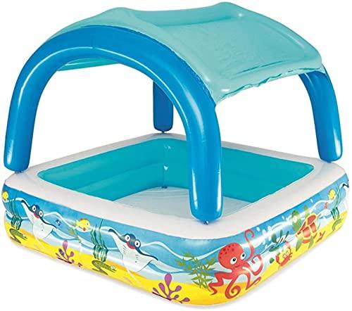 GDEVNSL Piscina Inflable para niños pequeños, Gruesa y Segura, Piscina Infantil de PVC para niños con toldo Desmontable, diversión en el Patio Interior y Exterior