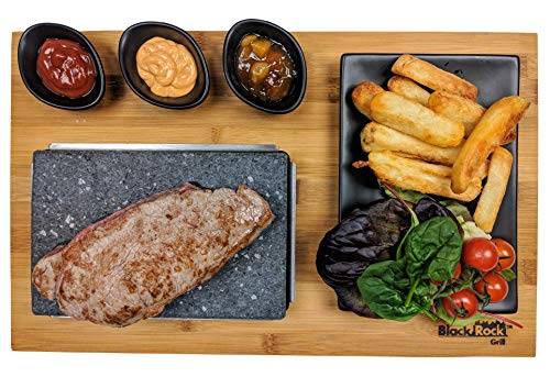 Black Rock Grill Steak auf Stein Grill Set, Sizzling Lava Stein Steak Set