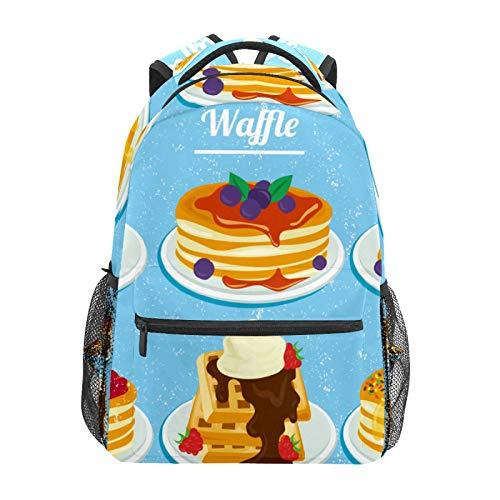 Schulrucksack mit Erdbeer- und Blaubeer-Honig-Waffeln in Wasserfarben, große Kapazität, Segeltuch, lässiger Reise-Tagesrucksack für Kinder, Erwachsene, Teenager, Damen, Herren
