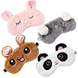 4 Pack Cute Animal Sleeping Sleep Mask Soft Plush Blindfold Cute Rabbit Panda Koala Eye Cover Eyeshade for Kids Teens Girls Women